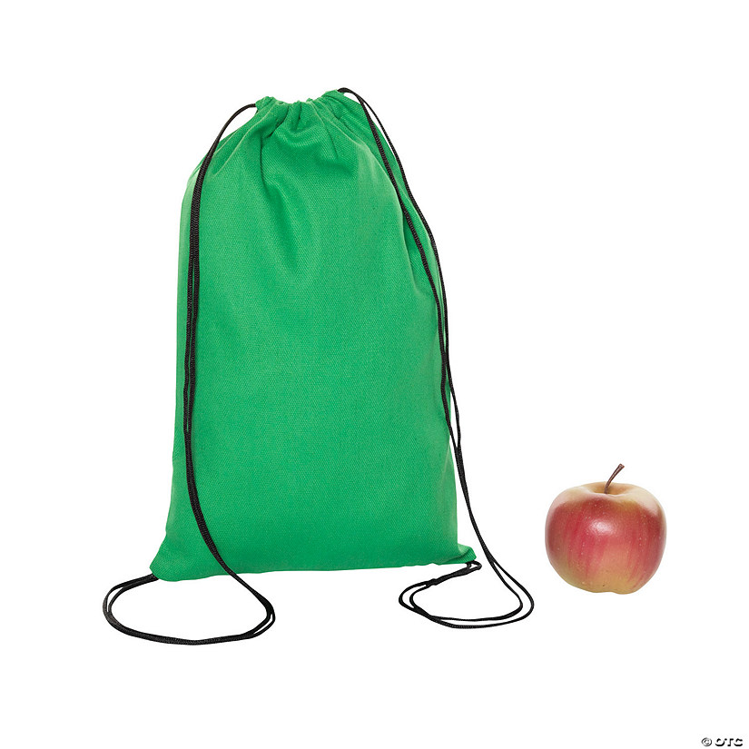 Medium Green Canvas Drawstring Bags Image Thumbnail