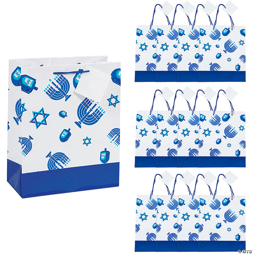 Medium Hanukkah Icons Gift Bags with Gift Tags
