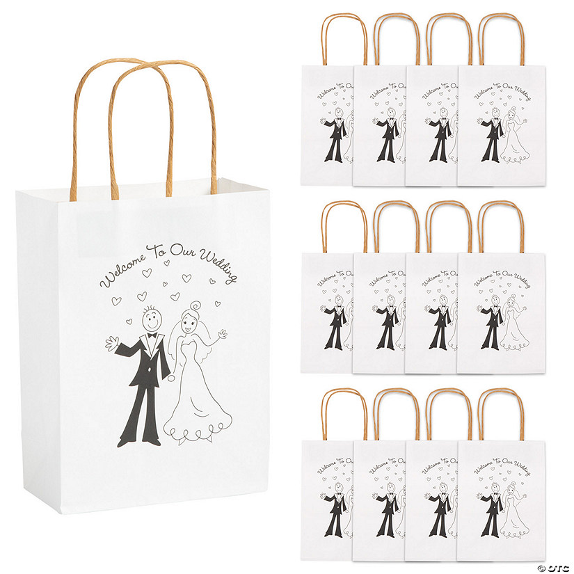 Medium Happy Couple Kraft Paper Gift Bags - 12 Pc.