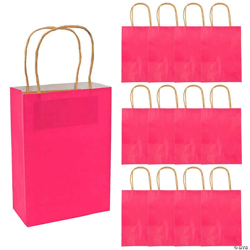 Medium Hot Pink Kraft Paper Gift Bags Audio Thumbnail