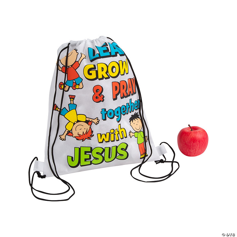 Medium Learn, Grow & Pray Drawstring Bags Audio Thumbnail