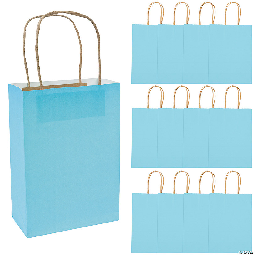 Medium Light Blue Kraft Paper Gift Bags Audio Thumbnail