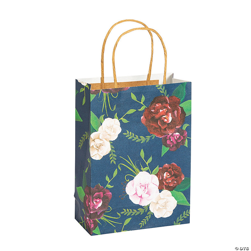 Medium Navy Floral Paper Gift Bags Audio Thumbnail