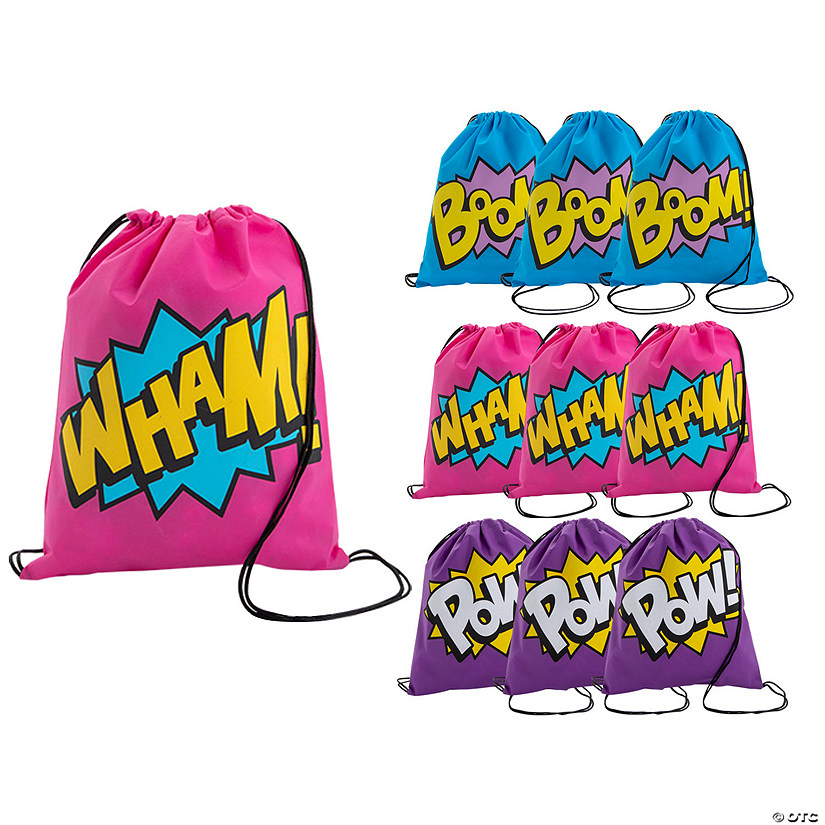 Medium Neon Superhero Drawstring Bags Audio Thumbnail