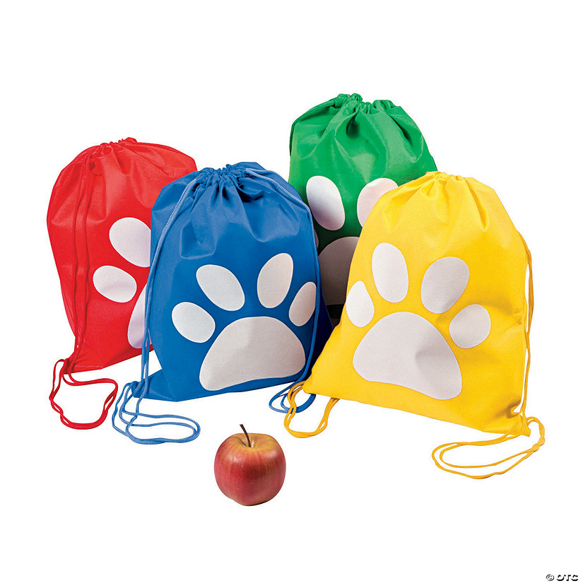 Medium Paw Print Drawstring Bags Audio Thumbnail