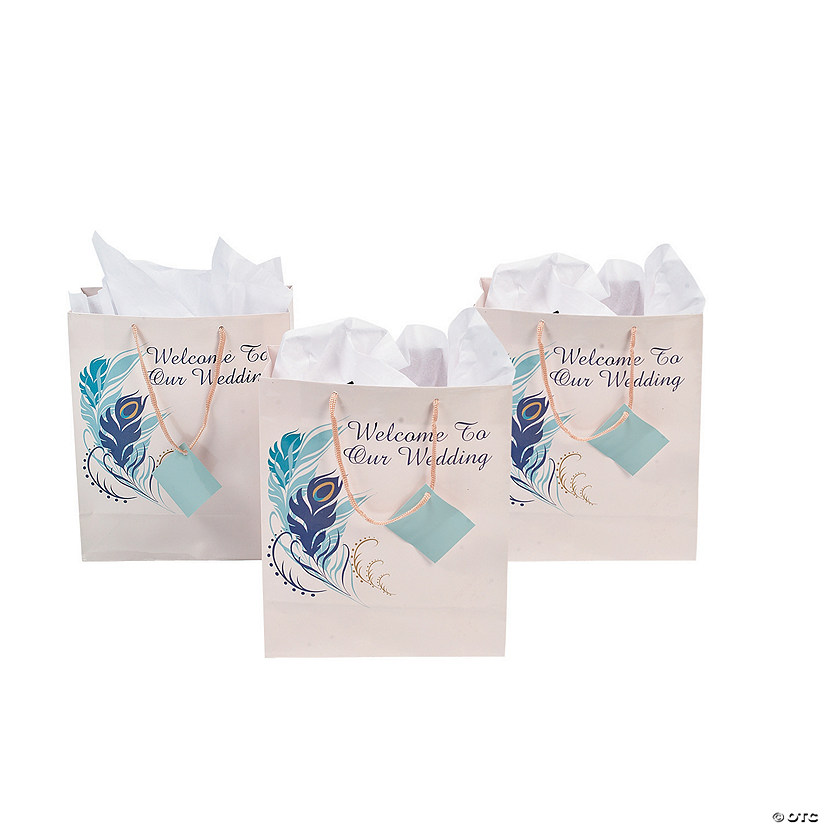 Peacock Wedding Gifts: Medium Peacock Wedding Gift Bags