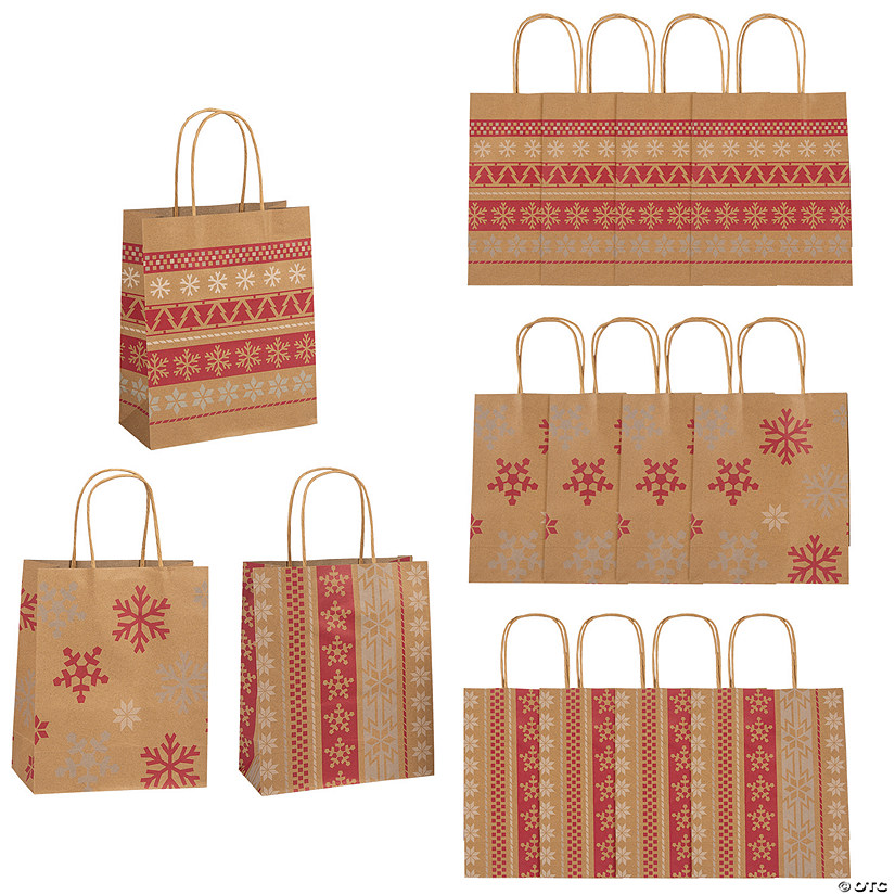 Medium Red & White Nordic Print Kraft Paper Gift Bags