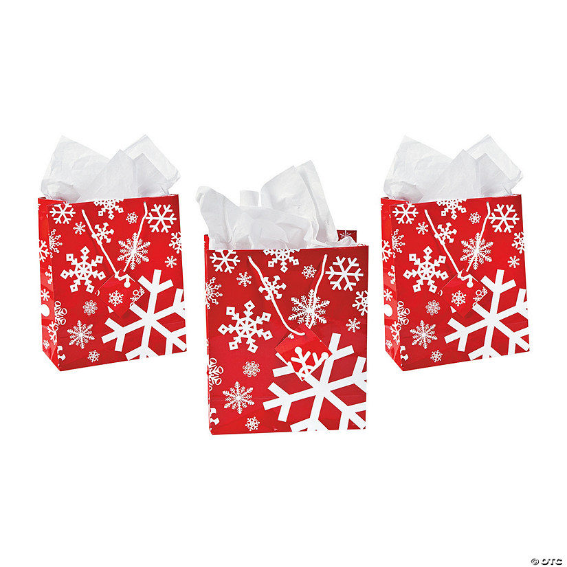 Medium Red & White Snowflake Gift Bags with Tags Audio Thumbnail