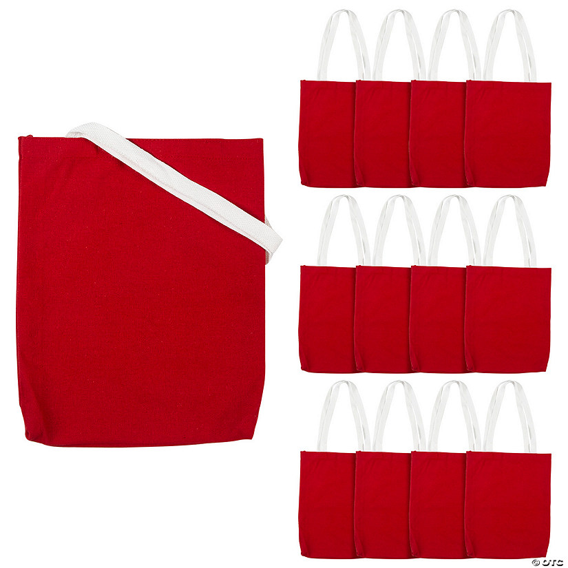 Medium Red Canvas Tote Bags Image Thumbnail