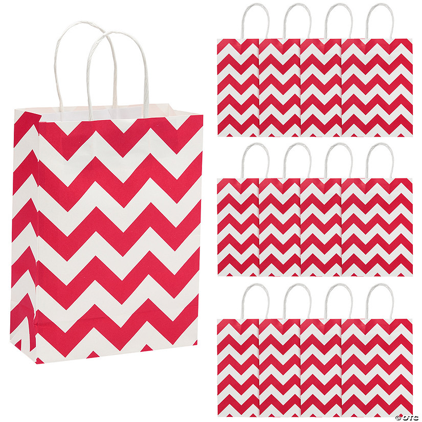 Medium Red Chevron Kraft Paper Gift Bags Audio Thumbnail