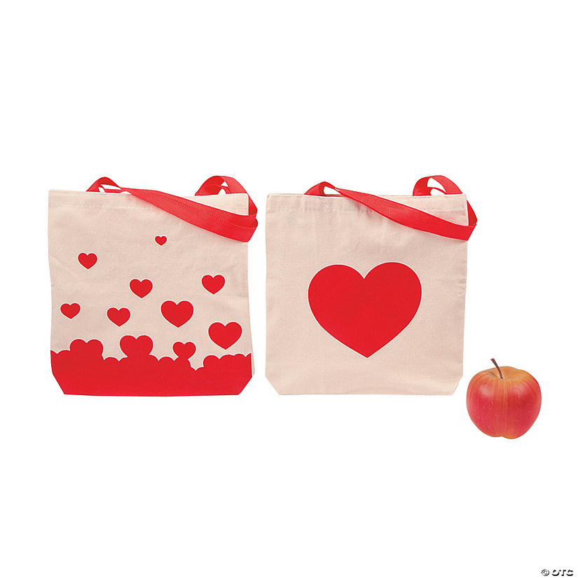 Medium Red Heart Printed Canvas Tote Bags Image Thumbnail