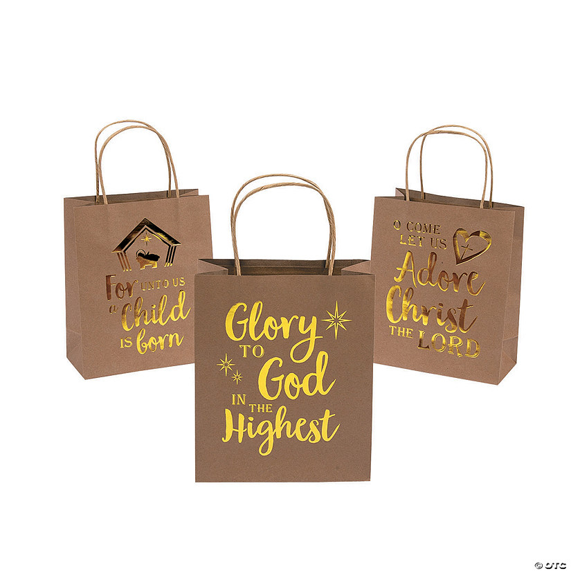 Medium Religious Gold Metallic Kraft Paper Gift Bags Audio Thumbnail