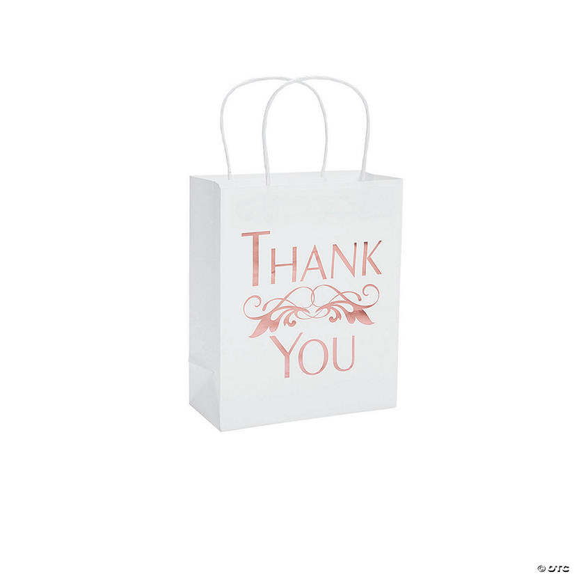 Medium Rose Gold Foil Thank You Gift Bags