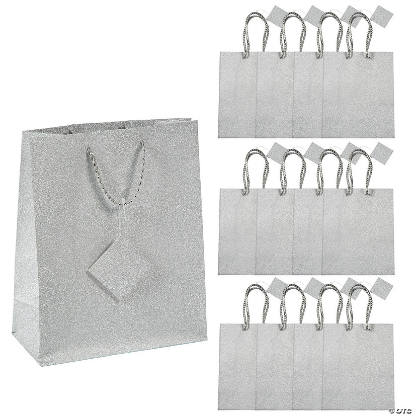 Medium Silver Glitter Gift Bags with Tags Image Thumbnail