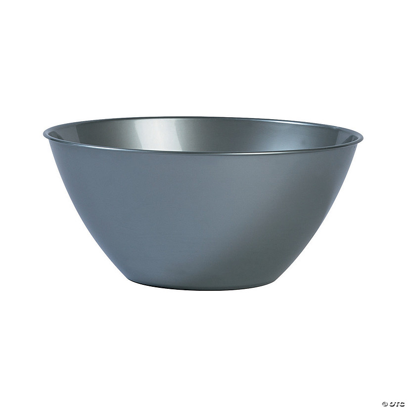Medium Silver Plastic Serving Bowl