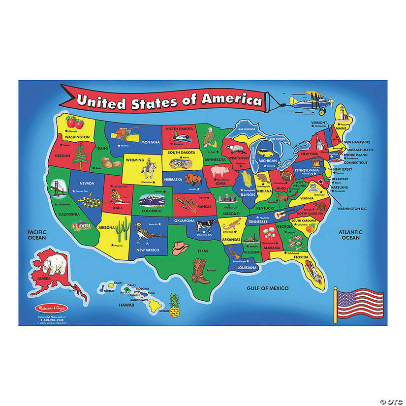 "Melissa & Doug U.S.A. Map Floor Jigsaw Puzzle, 36""x24"", 51 Pcs Audio Thumbnail"