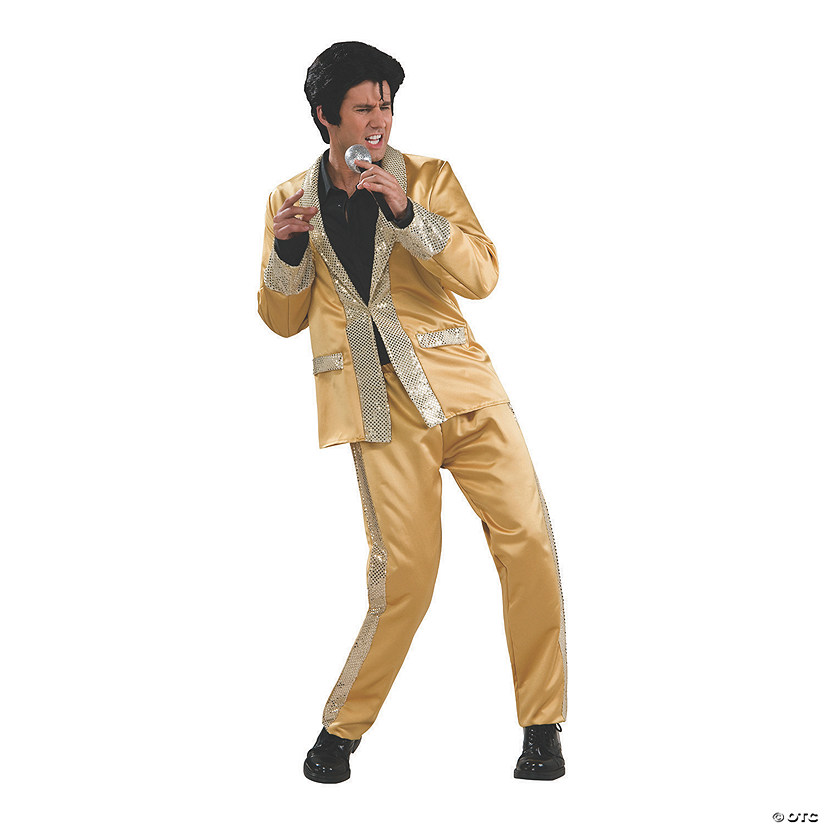 Men's Deluxe Gold Satin Elvis Presley Costume Audio Thumbnail