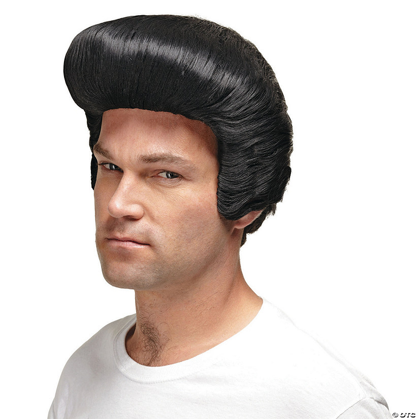 Men's 50s Black Pompadour Wig