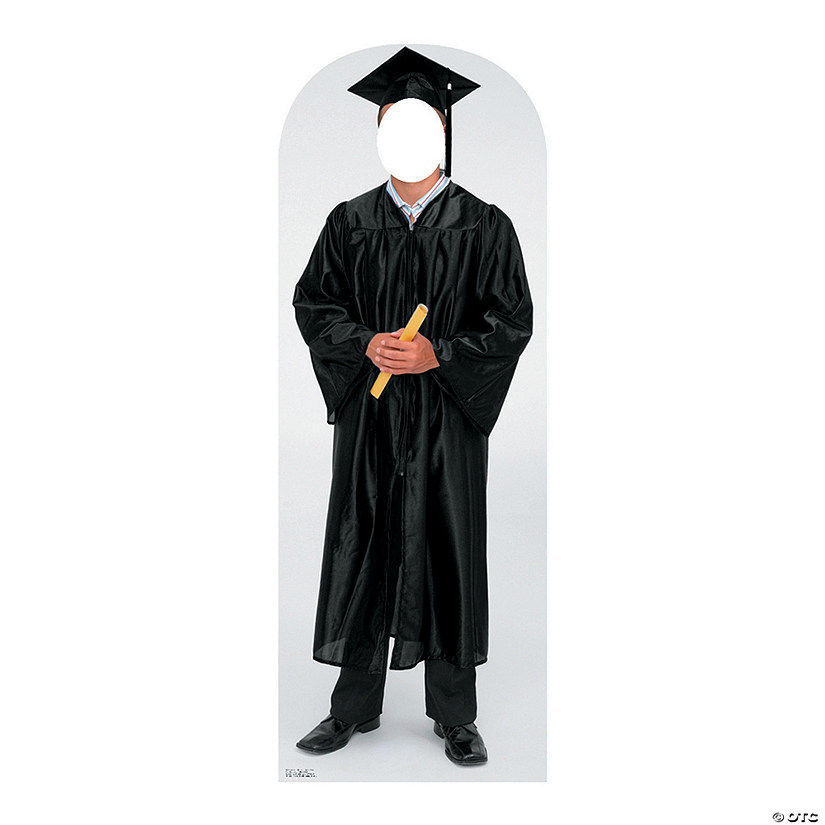 Men's Black Cap & Gown Graduate Cardboard Stand-In Stand-Up