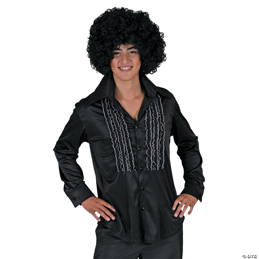 Men's Black Saturday Night Fever Shirt Costume Audio Thumbnail