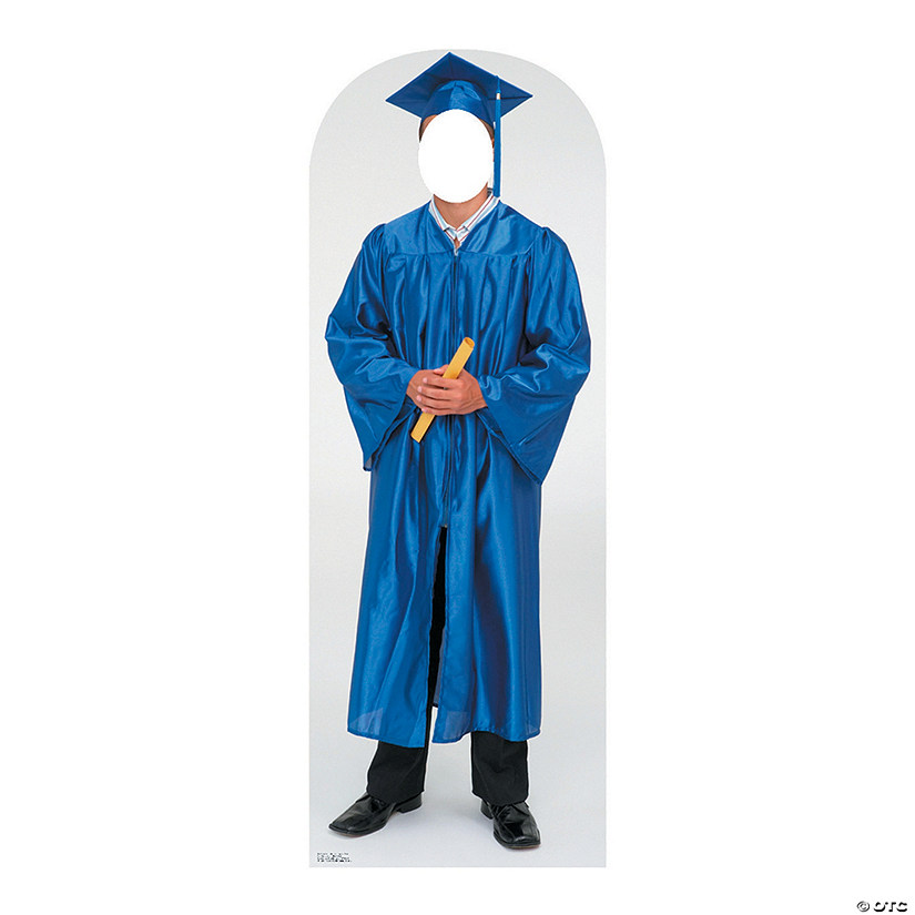 Men's Blue Cap & Gown Graduate Cardboard Stand-In Stand-Up