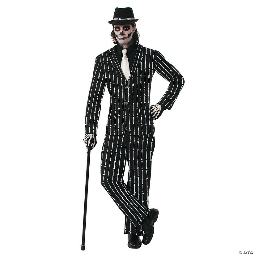Men's Bone Pin Stripe Suit Costume