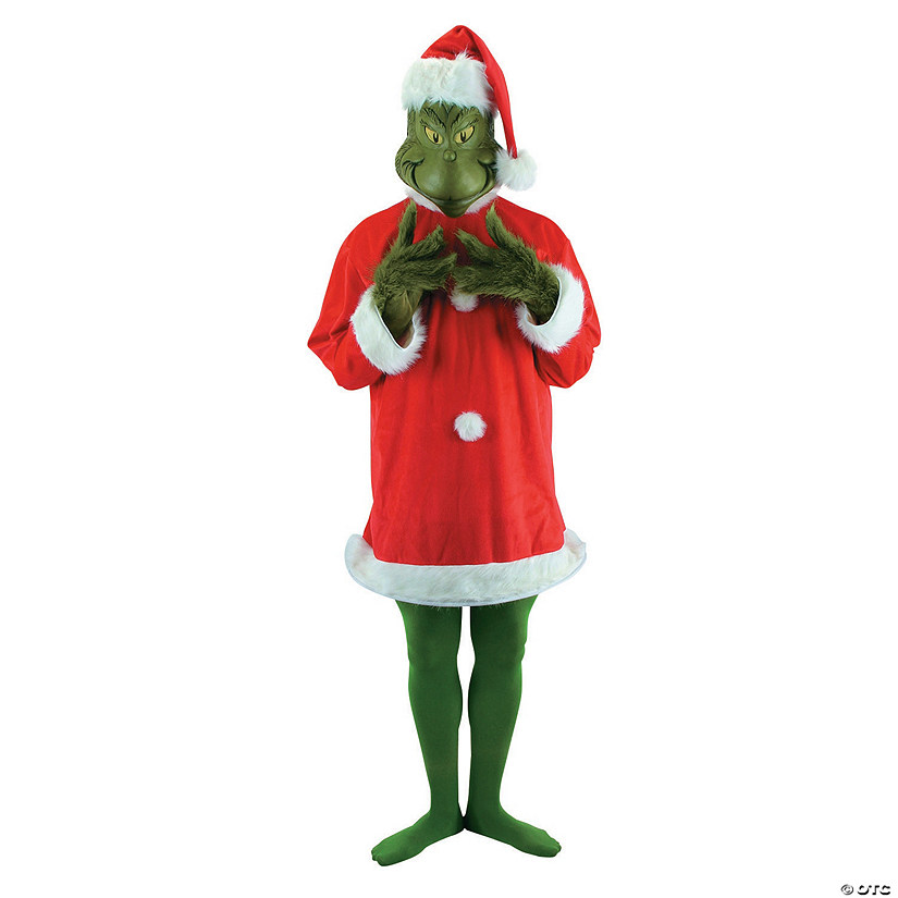 Men's Deluxe Plus-Size Dr. Seuss™ The Grinch Santa Costume with Mask - XXL Audio Thumbnail