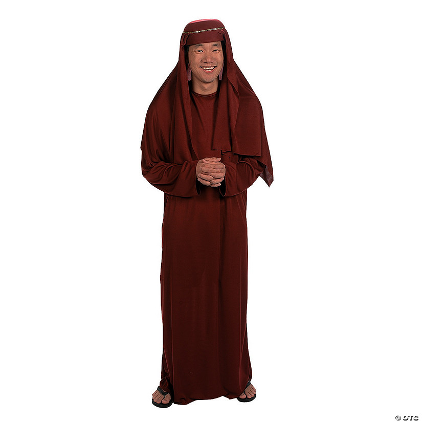 Men's Maroon Robe and Hat Nativity Costume