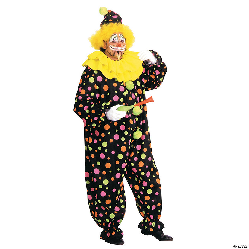 Men's Neon Dotted Clown Costume