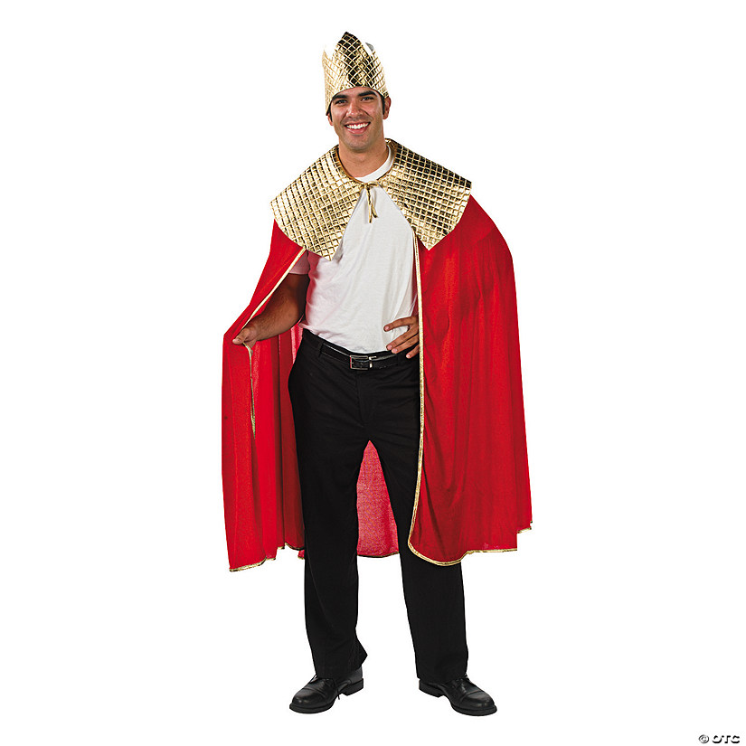 Men's Red Wise Man's Cape with Crown Costume