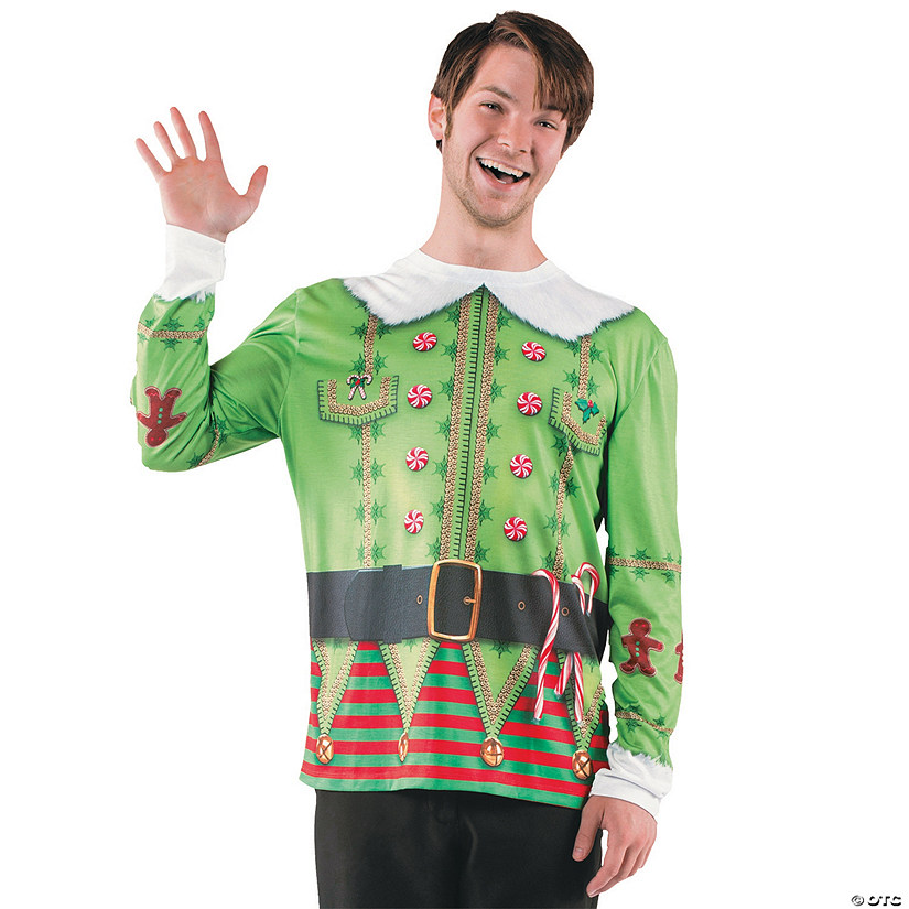 Men's Ugly Christmas Sweater Elf T-Shirt Costume Audio Thumbnail