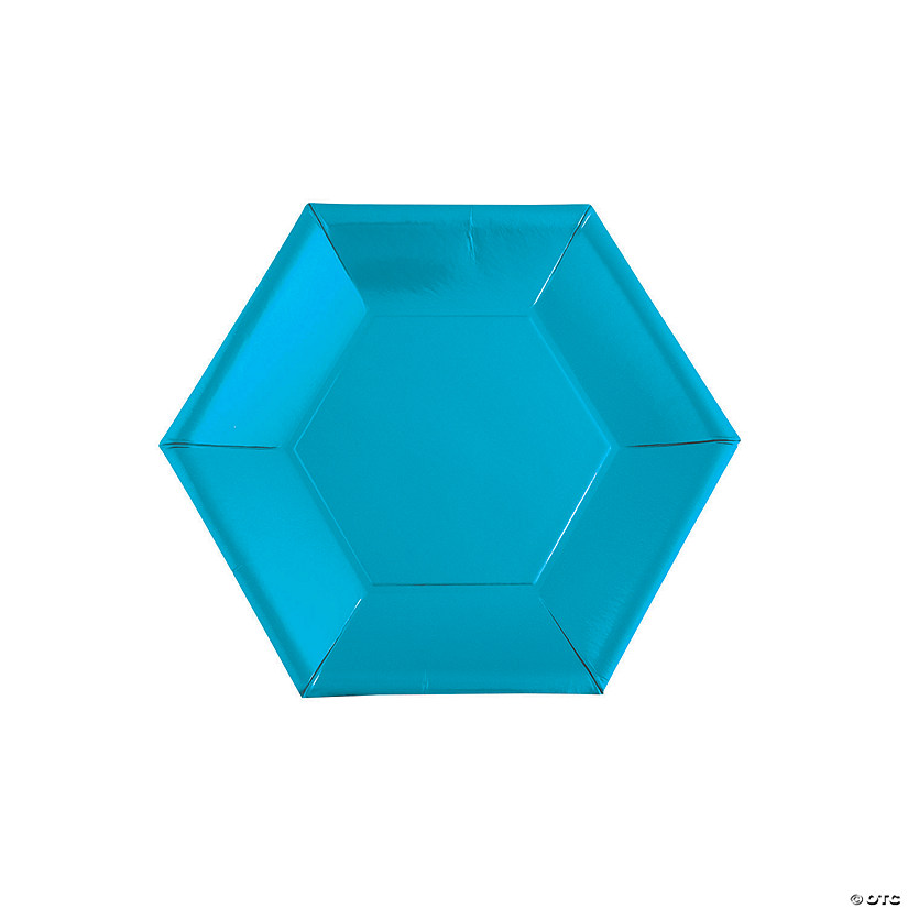 Metallic Blue Hexagon Paper Dessert Plates - 24 Ct. Audio Thumbnail