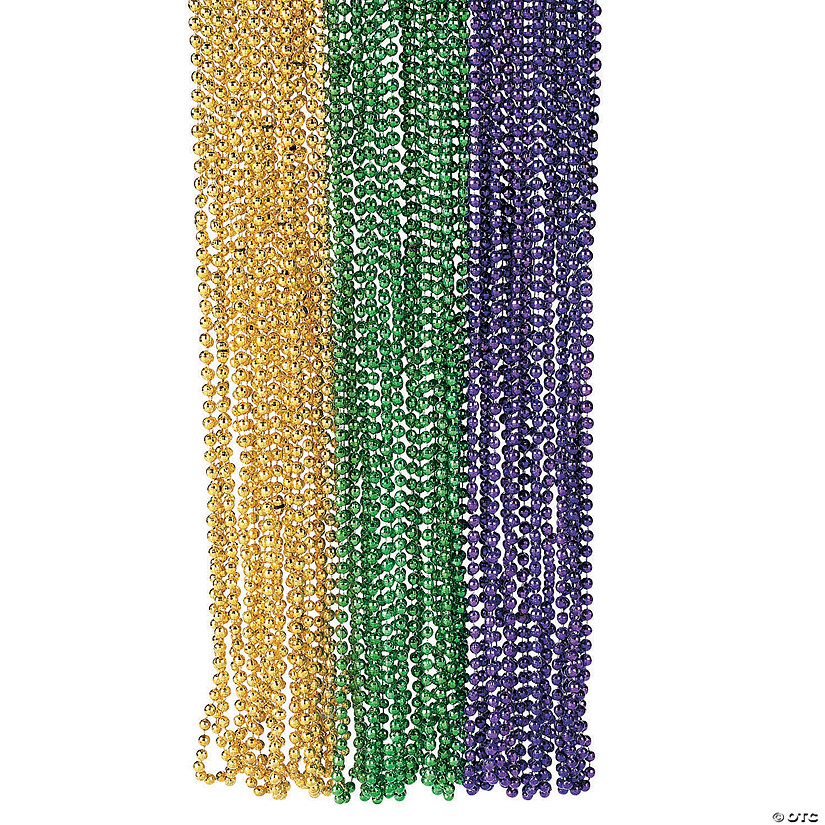 Metallic Faceted Mardi Gras Bead Necklaces Image Thumbnail