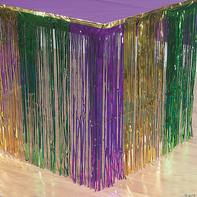 Metallic Fringe Mardi Gras Table Skirt Audio Thumbnail