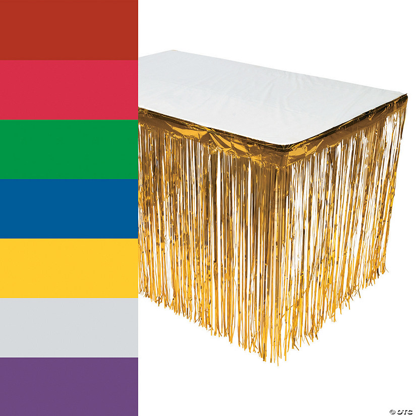 Metallic Fringe Plastic Table Skirt Audio Thumbnail