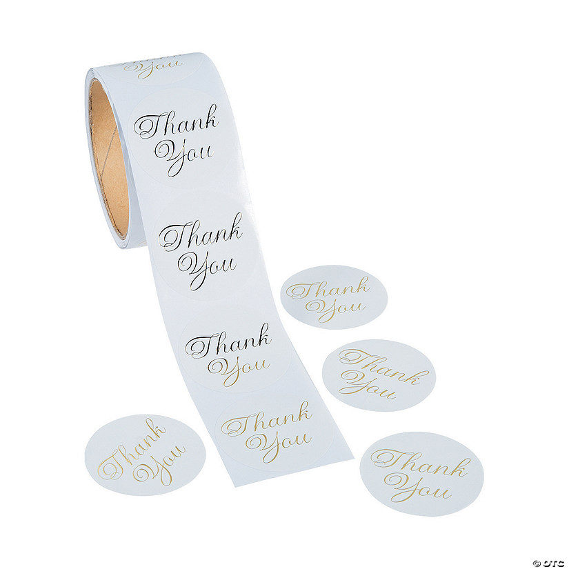 Metallic Gold Foil Thank You Stickers Image Thumbnail