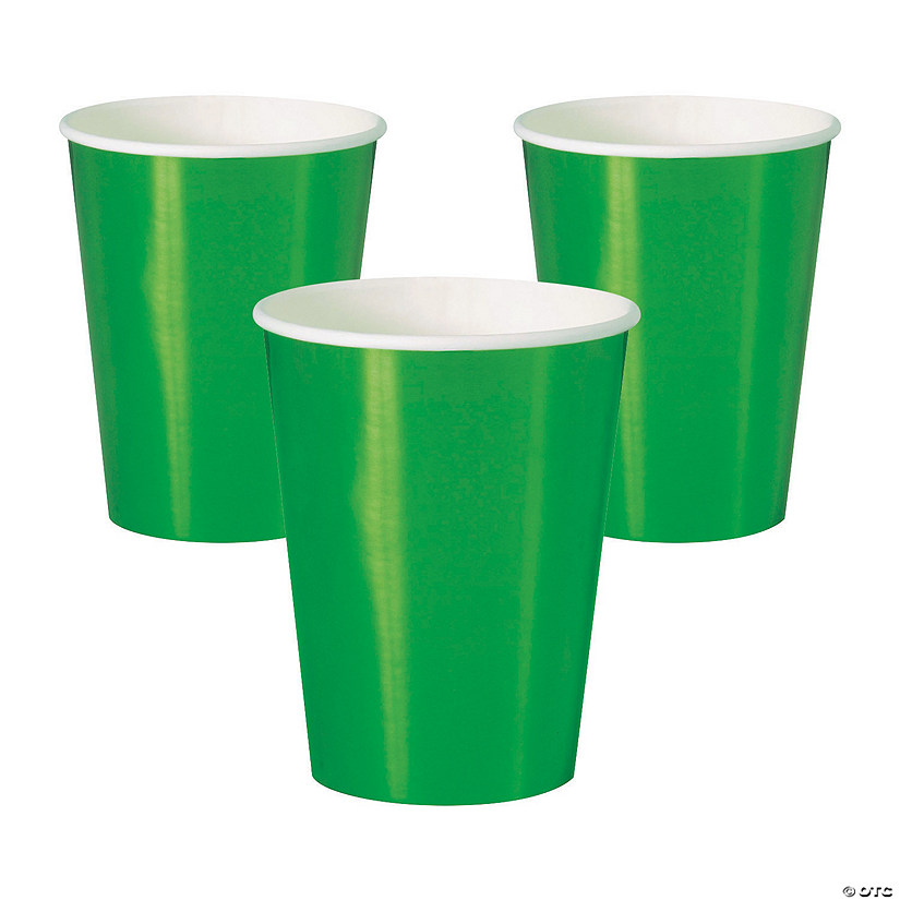 Metallic Green Paper Cups Image Thumbnail