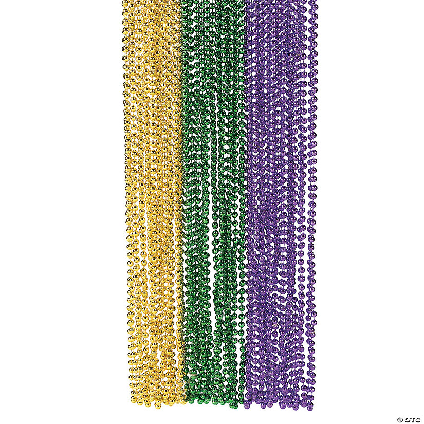 Metallic Mardi Gras Bead Necklaces Image Thumbnail