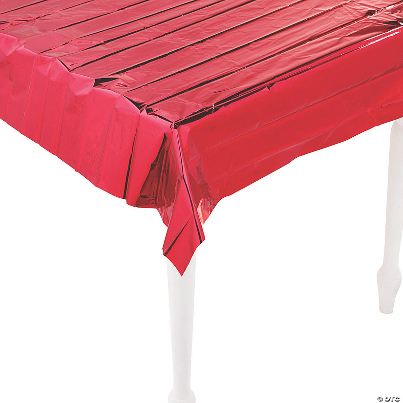 Metallic Red Foil Tablecloth Image Thumbnail