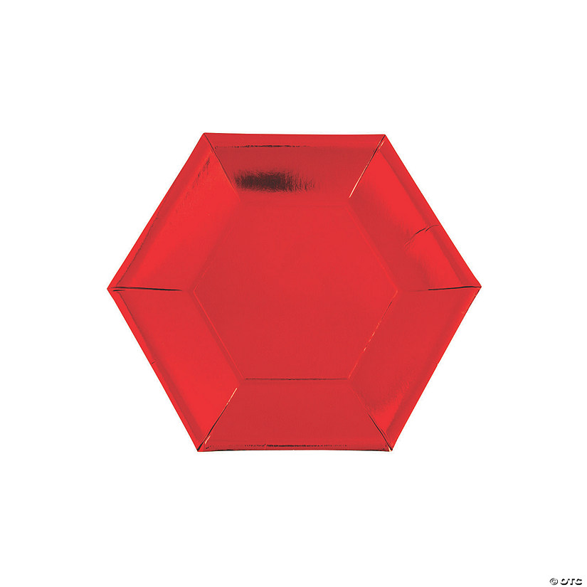 Metallic Red Hexagon Paper Dessert Plates - 24 Ct. Audio Thumbnail
