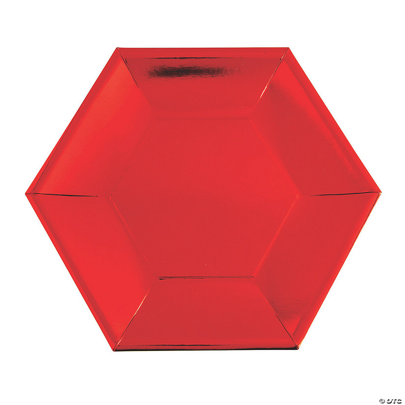 Metallic Red Hexagon Paper Dinner Plates - 24 Ct. Audio Thumbnail