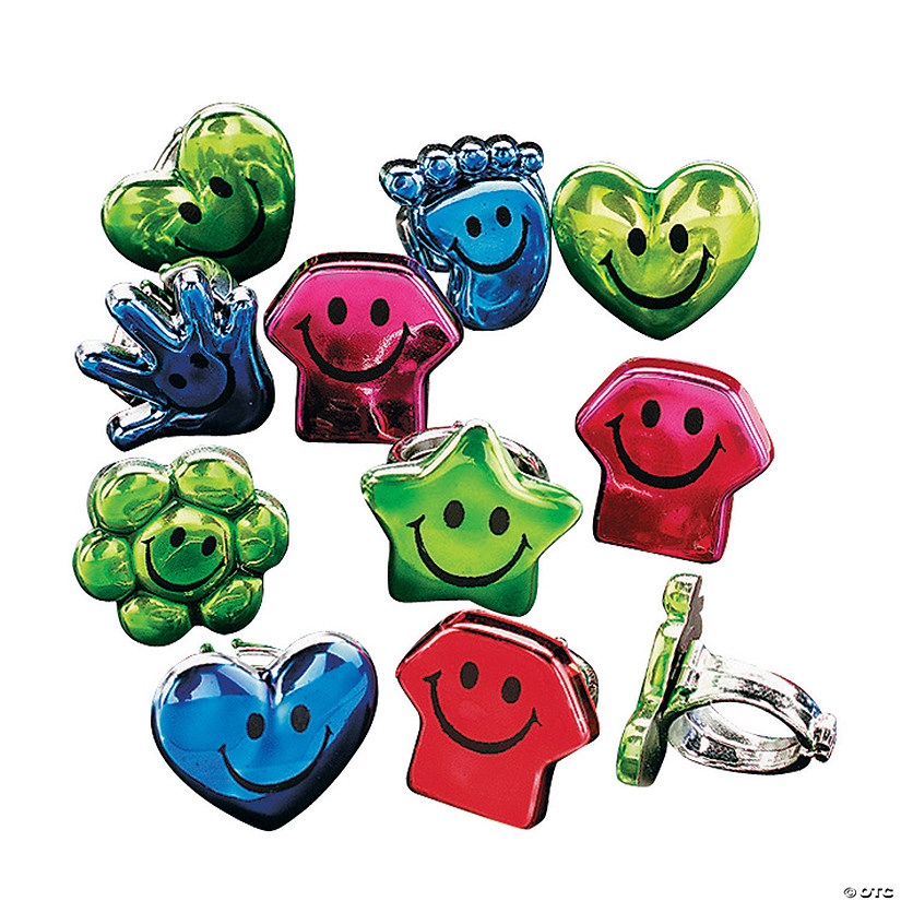 Metallic Shaped Smile Face Rings