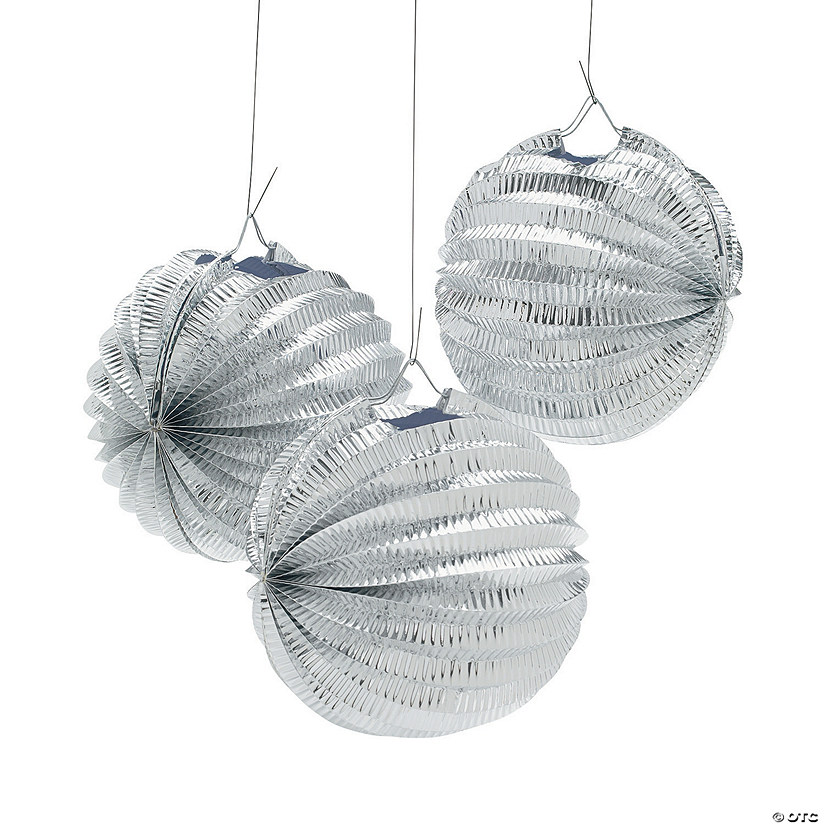 Metallic Silver Balloon Hanging Paper Lanterns