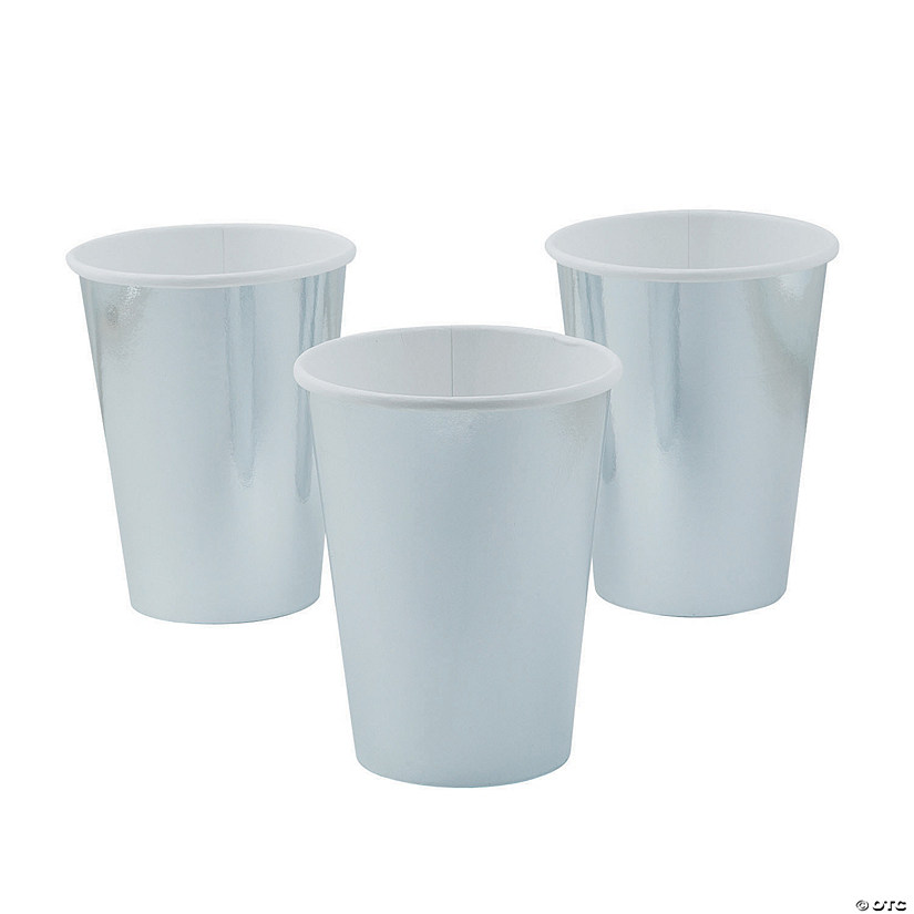 Metallic Silver Paper Cups - 8 Ct. Audio Thumbnail