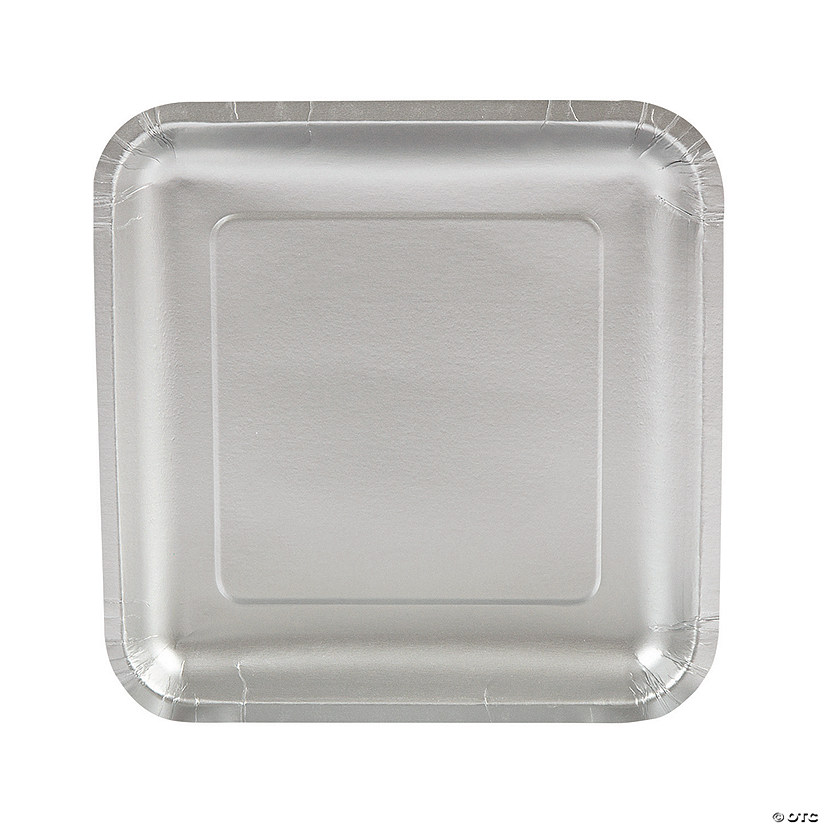 Metallic Silver Square Paper Dinner Plates Audio Thumbnail