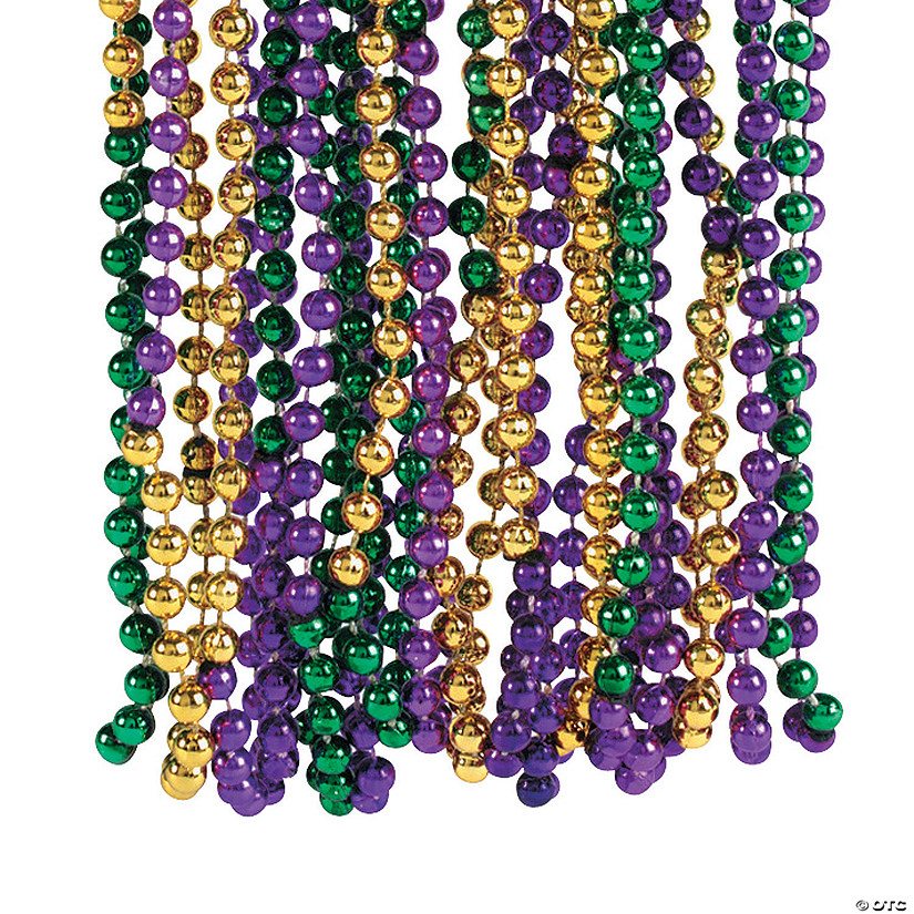 Metallic Tri-Color Mardi Gras Beaded Necklaces Audio Thumbnail