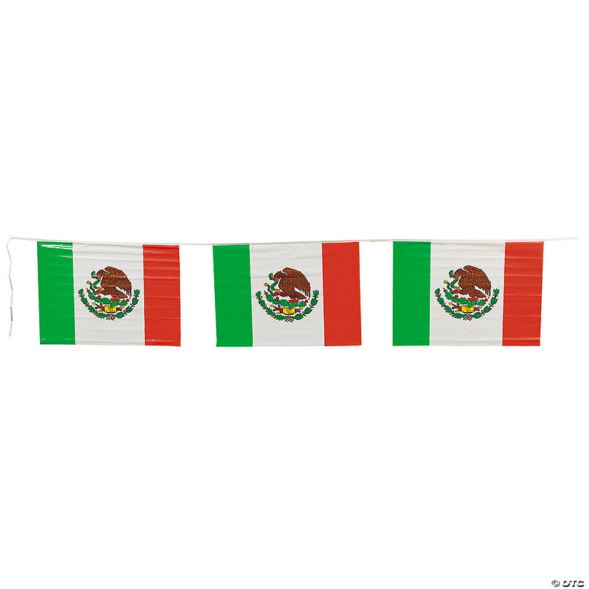 Mexican Flag Plastic Pennant Banner