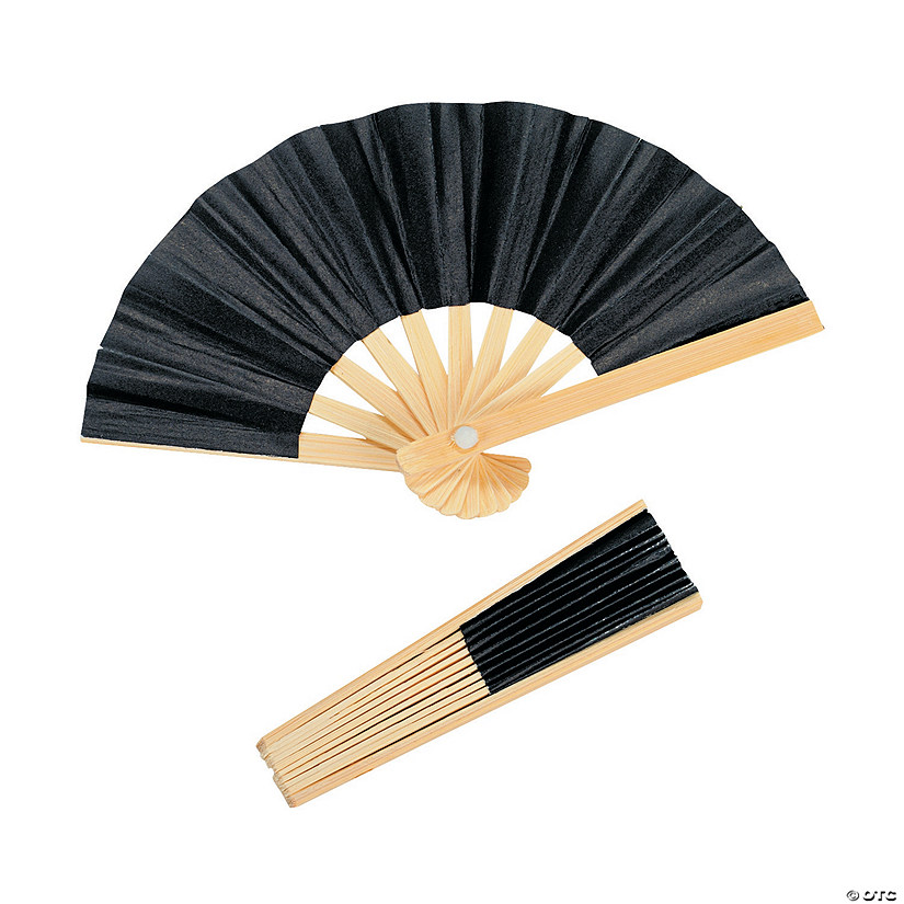 Mini Black Bamboo Folding Favor Hand Fans Audio Thumbnail