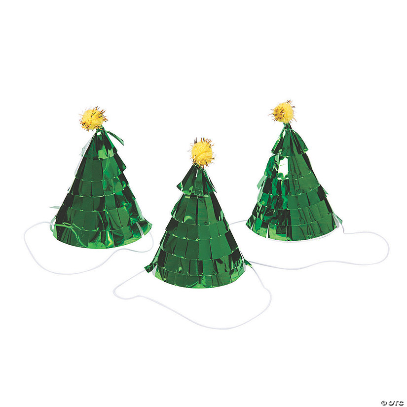 Mini Christmas Tree Cone Party Hats Image Thumbnail