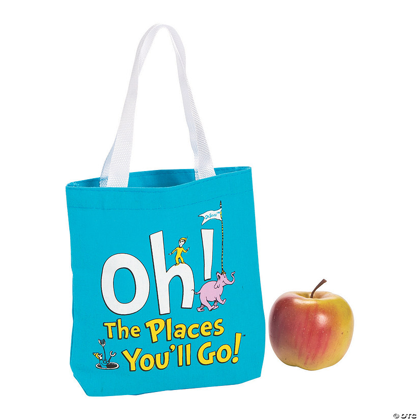 Mini Dr. Seuss™ Oh, the Places You'll Go Canvas Tote Bags Audio Thumbnail